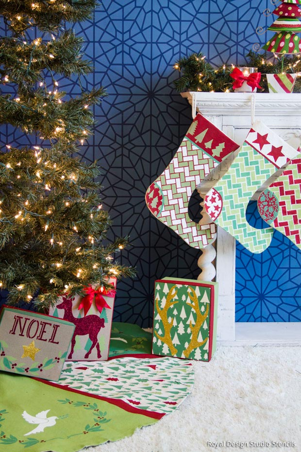 How to Stencil a Handmade Tree Skirt and Christmas Stockings| Christmas Stencil Collection by Royal Design Studio