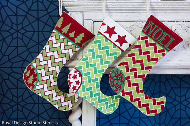 How to Stencil Handmade Christmas Stockings| Christmas Stencil Collection by Royal Design Studio
