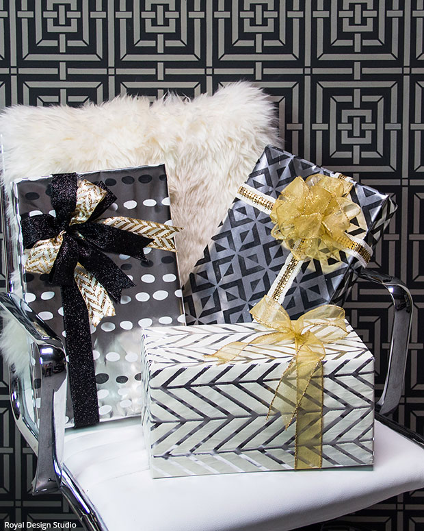 Hollywood Glamour Christmas Wrap DIY | Royal Design Studio Stencils