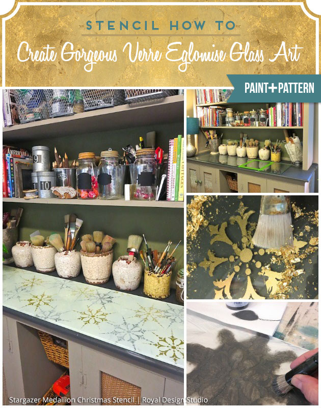 Stencil How-to: Create Gorgeous Verre Eglomise Glass Art | Paint + Pattern