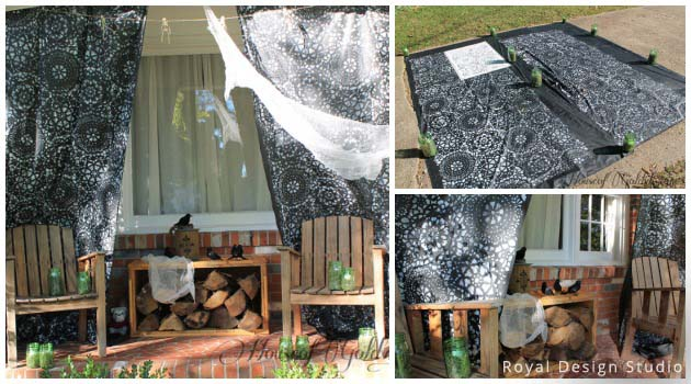 Scary Porch Decor with Parlor Lace Halloween Stencil by Royal Design Studio