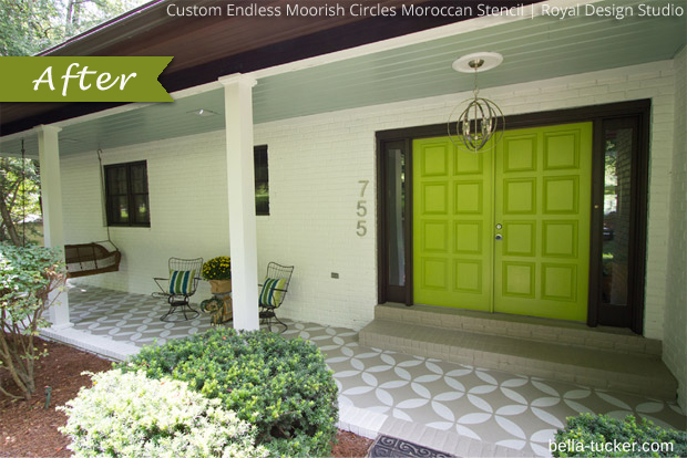 Front Porch Makeover via Bella Tucker | Endless Moorish Circles Moroccan Stencil by Royal Design Studio
