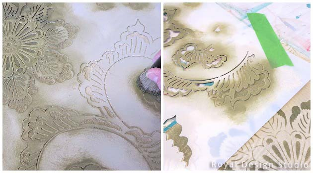 Stencil DIY: Plain Fabric Pillow Goes Drab to Fab | Kimono Allover Stencil by Royal Design Studio