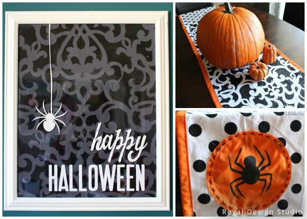 Creepy Wall Art and Table Runner with Donatelle Damask Stencil by Royal Design Studio