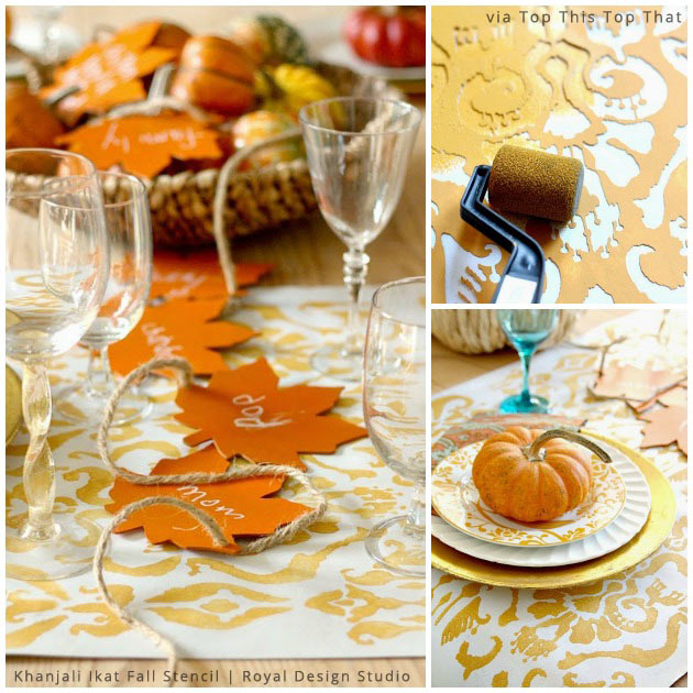 Thanksgiving Table Runner via Top This Top That | Khanjali Ikat Fall Stencil by Royal Design Studio