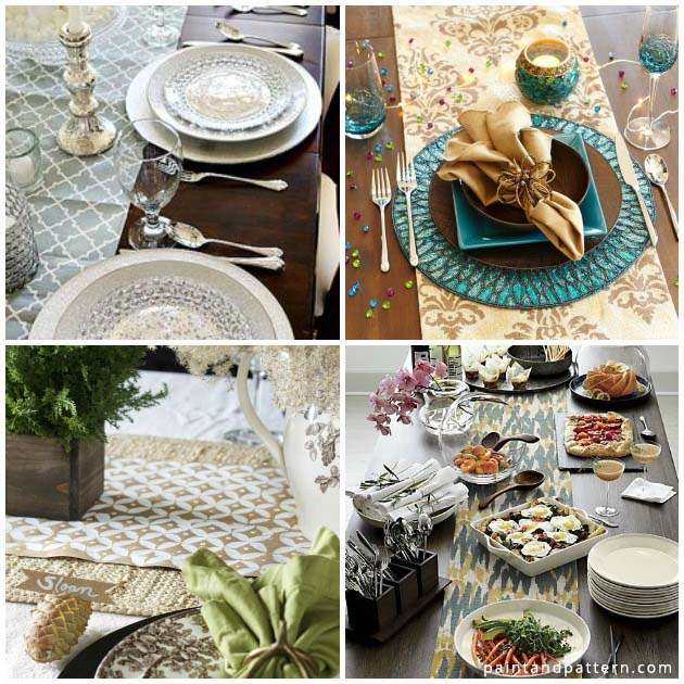Stencil Elegant Table Runners for Thanksgiving | Paint + Pattern