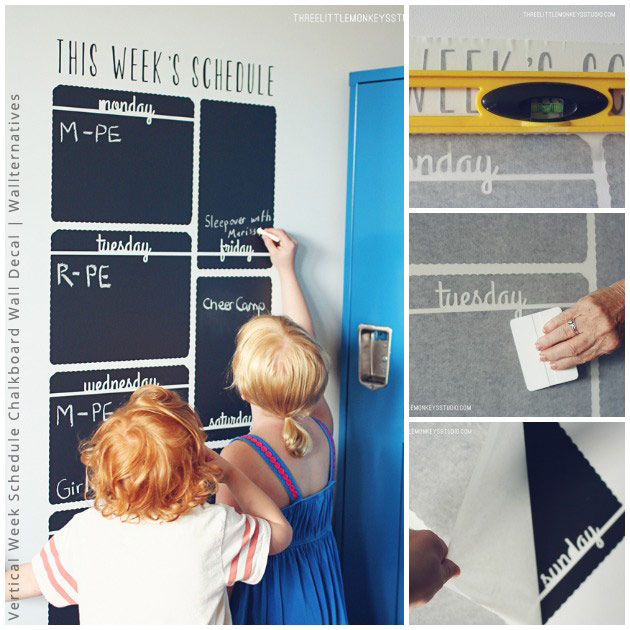 Teach Time Management to Kids with Vertical Chalkboard Calendar Wall Decals by Wallternatives