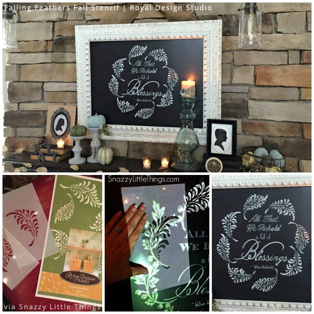 Thanksgiving Wall Art via Snazzy Little Things   Falling Feathers Fall Stencil by Royal Design Studio