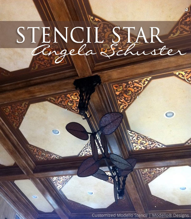 Customized corner stencil patterns by Modello Designs enhance a coffered ceiling | Modello® Designs