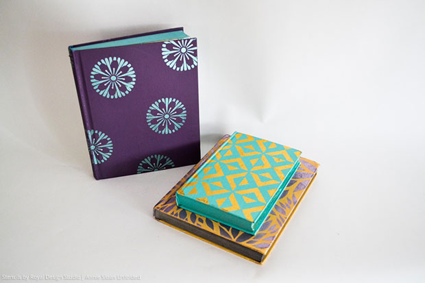 Beautify Your Books with Chalk Paint and Stencils via Annie Sloan's Unfolded Blog | Stencils by Royal Design Studio