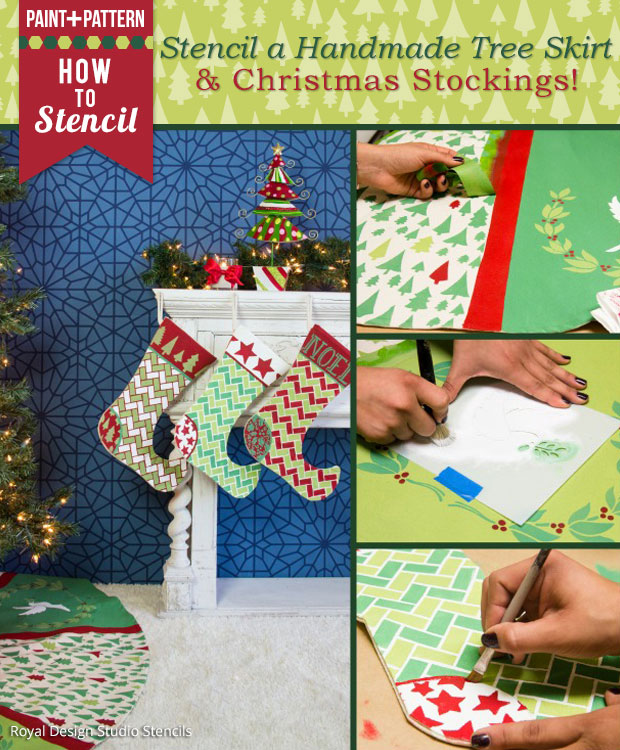 Stencil a Handmade Tree Skirt and Christmas Stockings | Christmas Stencils by Royal Design Studio