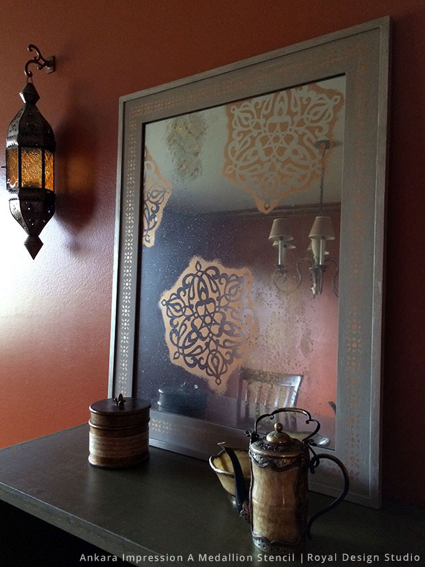 Stenciled & Antiqued Turkish Medallion Mirror | Ankara Impressions Medallion Stencil by Royal Design Studio