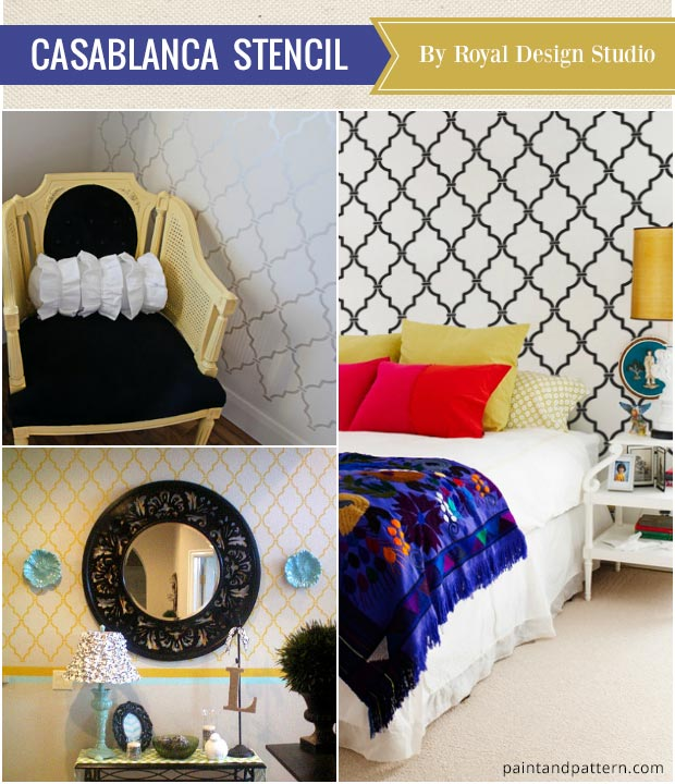 Casablanca Trellis Wall Stencils for timeless or exotic home decor - Best Stencils of the Year from Royal Design Studio