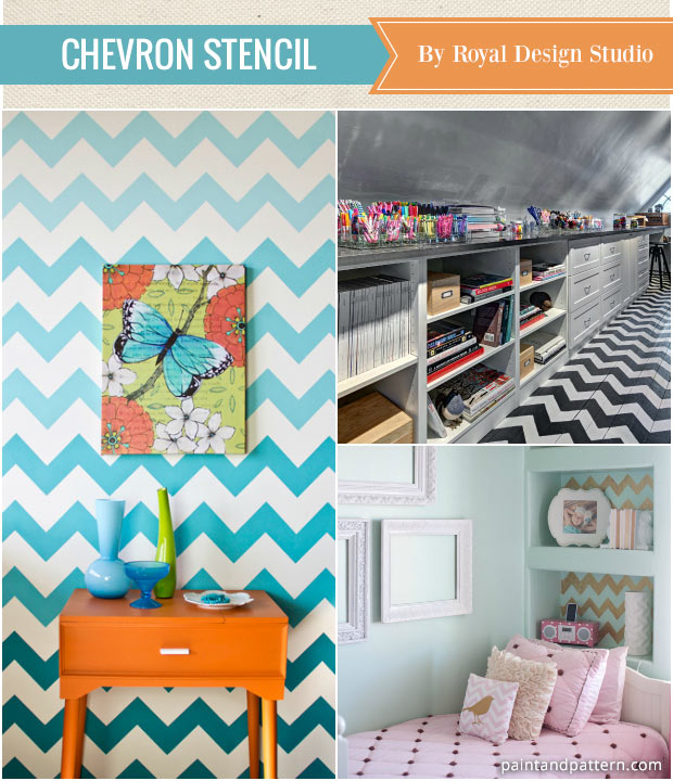 Paint chevron stripes on your walls with Royal Design Studio stencils - Article: Best Stencils of the Year for Home Decorating and DIY projects