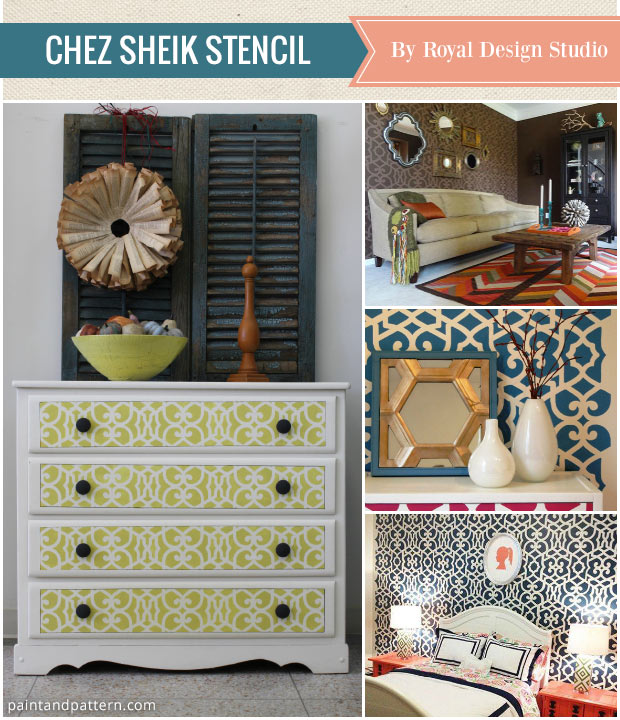 Moroccan home decor using the best stencils of the year from Royal Design Studio (Chez Sheik Stencil pictured)