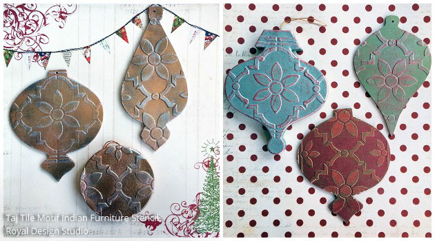 DIY Stencil Homemade Tree Ornaments | Royal Design Studio