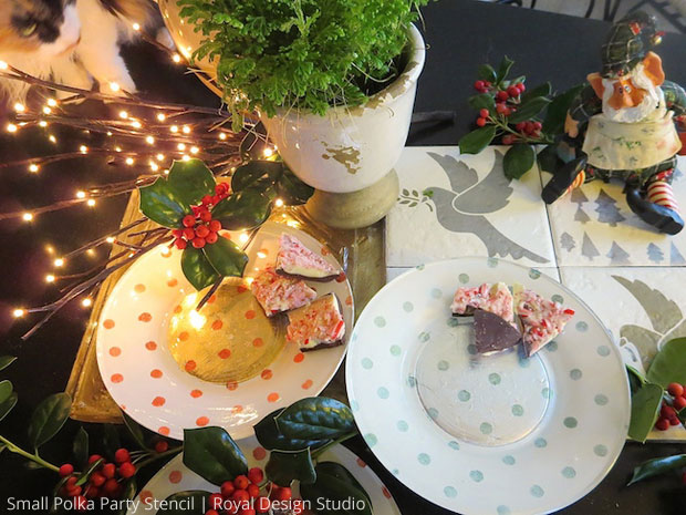 Stencil DIY: Festive Verre Eglomise Glass Plates | Stencils by Royal Design Studio