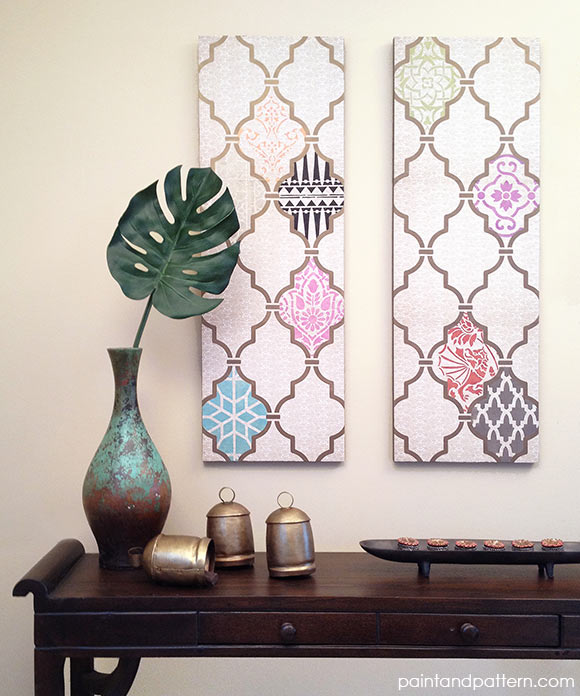 Exotic Indian and Moroccan design and wall art using Royal Design Studio stencils