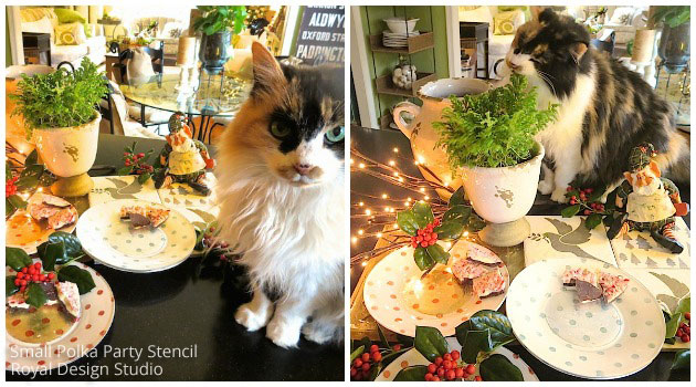 Kitty Lacey Jane Approving Stencil DIY: Festive Verre Eglomise Glass Plates | Stencils by Royal Design Studio