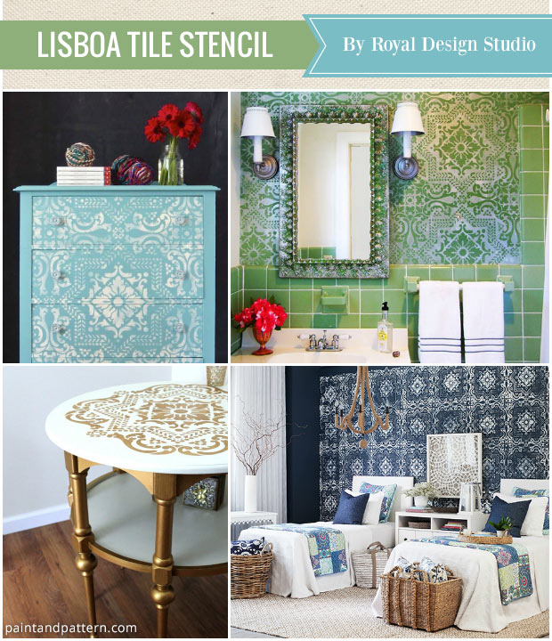 Favorite home decorating stencils of the year - Royal Design Studio Lisboa Tile Stencil