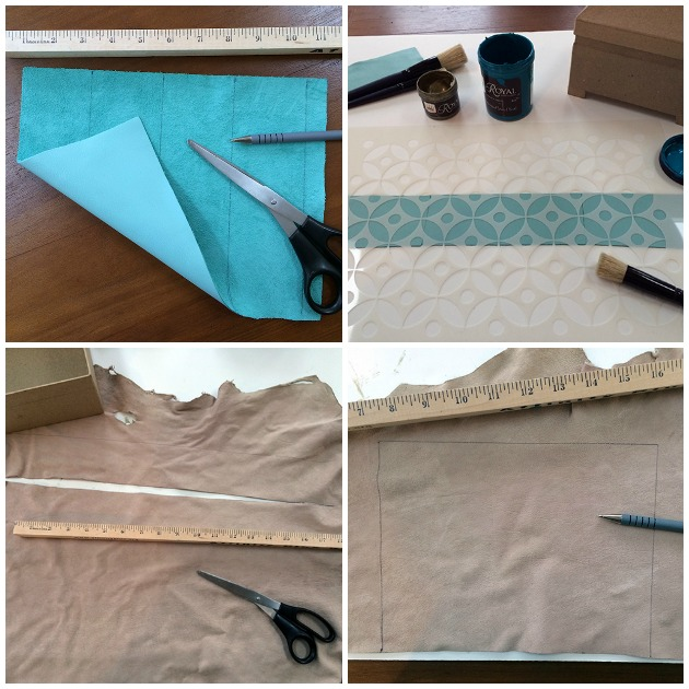 Measuring the Leather for Stenciled Gift Box DIY | Royal Design Studio