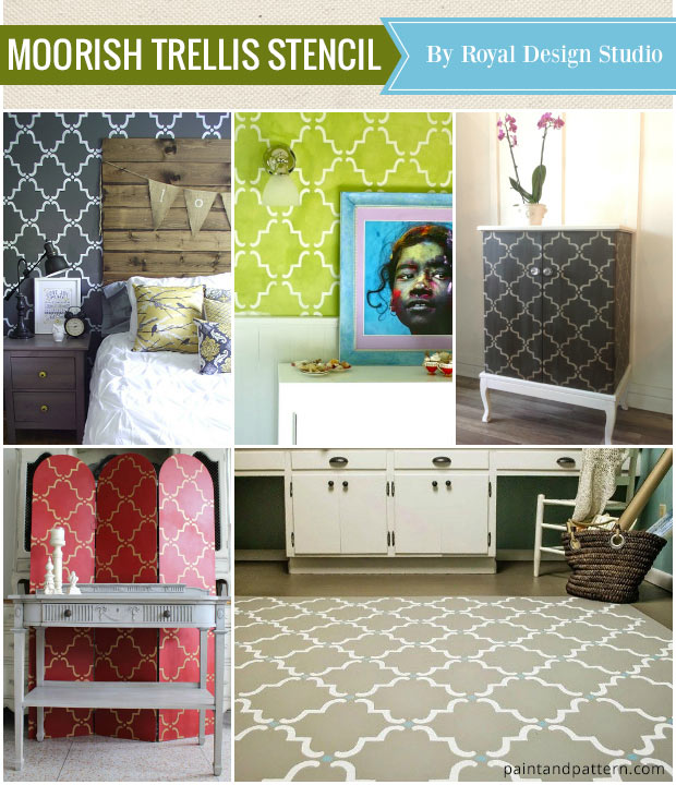 See the Best Stencils of the Year - Moorish Trellis Wall Stencils from Royal Design Studio