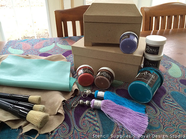 Stencil Supplies for Leather Gift Box DIY | Royal Design Studio