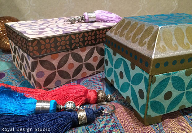 Stencil Your Own Exotic Gift Boxes Paint Pattern