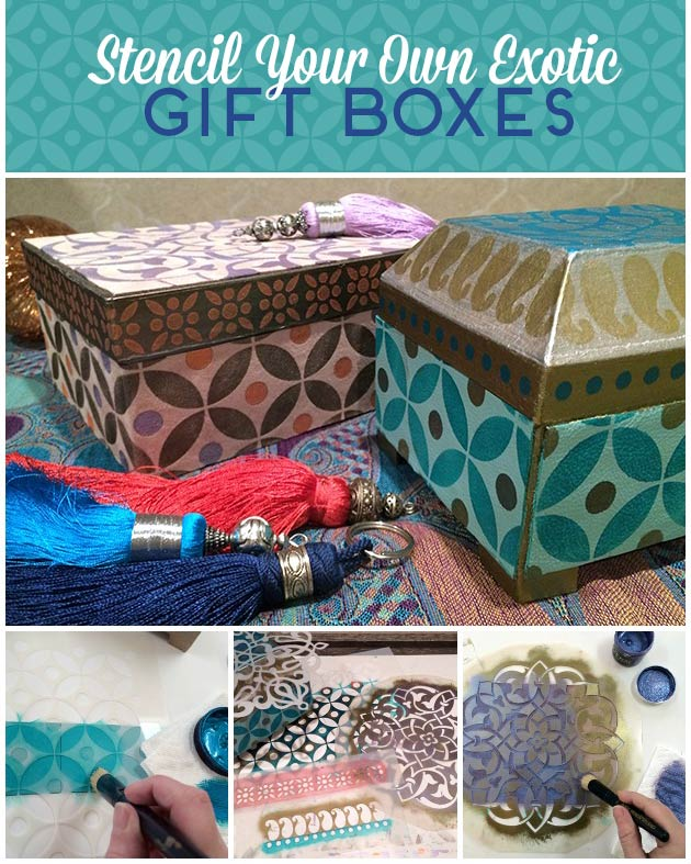 Stencil Your Own Exotic Gift Boxes DIY | Royal Design Studio