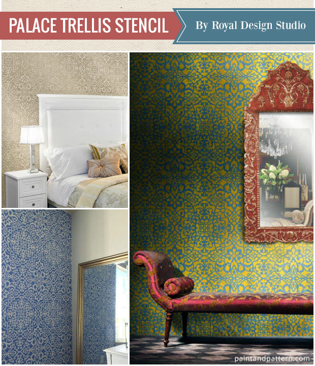 Favorite Stencils of the Year - Palace Trellis Wall Stencil with elegant and intricate pattern by Royal Design Studio
