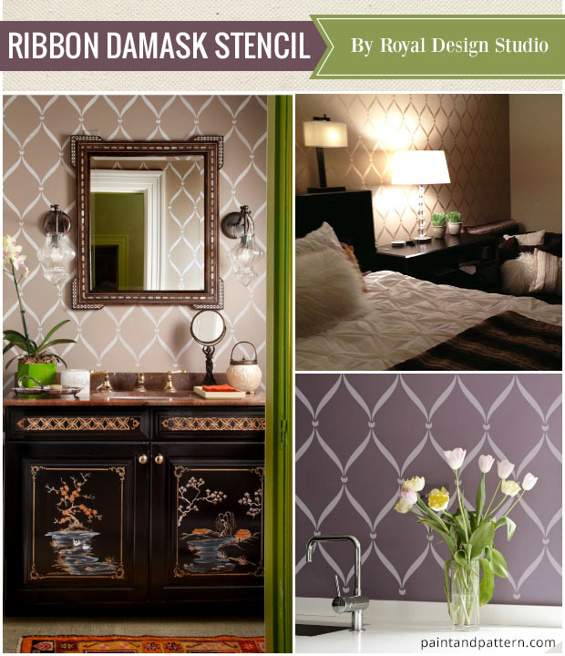 Elegant home decor made easy with wall stencils - Ribbon Lattice Stencil from Royal Design Studio best stencils of the year