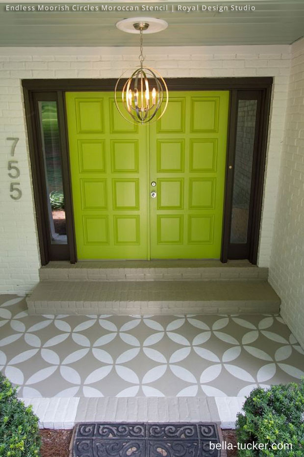 Custom Stencil Porch Entrance via Bella Tucker | Endless Moorish Circles Moroccan Stencil by Royal Design Studio
