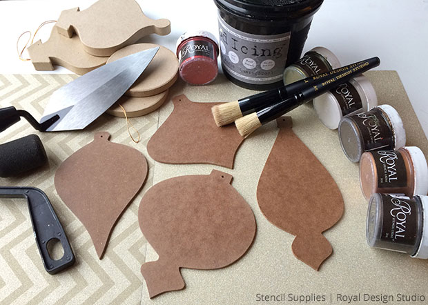 Supplies for Stencil Homemade Tree Ornaments | Royal Design Studio