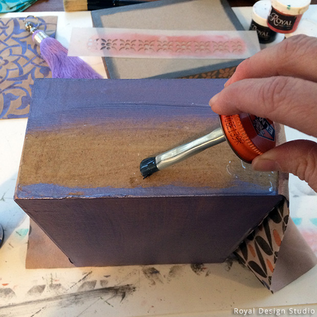 Applying Rubber Cement to Glue Leather to Gift Box Stencil DIY | Royal Design Studio