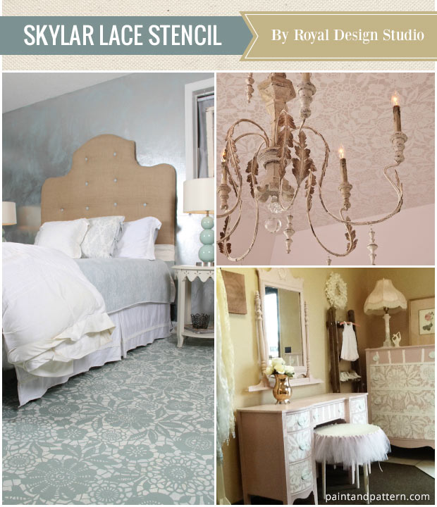 Paint your floors, ceiling, or furniture with the Skylar's Lace Floral Stencil from Royal Design Studio! See what other stencils are top favorites of the year!