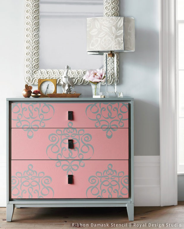 Stenciled Dresser | Small Ribbon Damask Stencil by Royal Design Studio