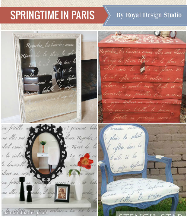 Decorate your home with favorite stencils of the year - Springtime in Paris typography letters stencil from Royal Design Studio