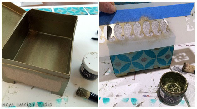 Painting the Stencil DIY Gift Box | Royal Design Studio