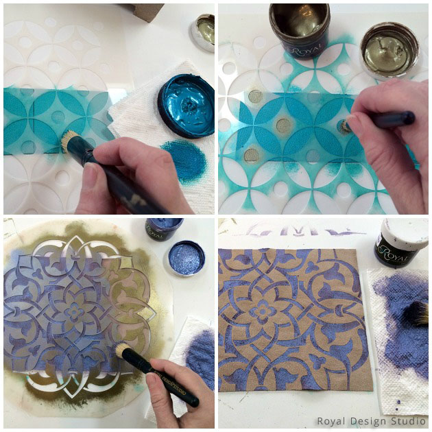 Stenciling on Leather for Gift Box DIY | Royal Design Studio