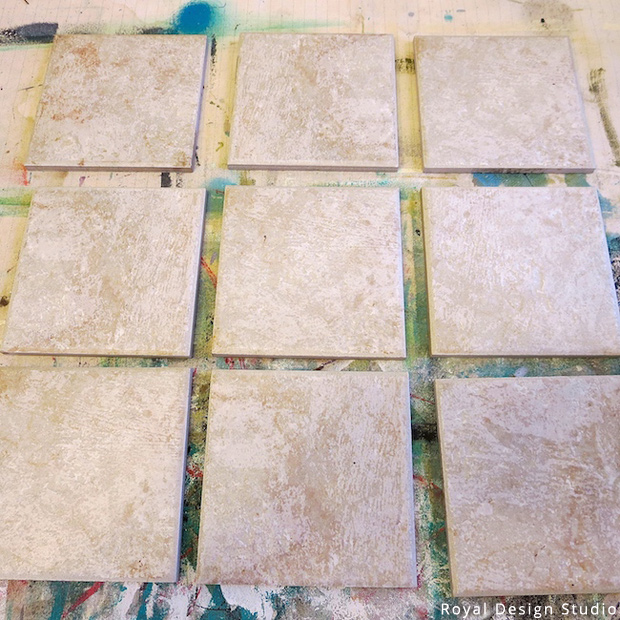 Stencil DIY: A Clever Table Runner Made of Tiles | Stencils by Royal Design Studio