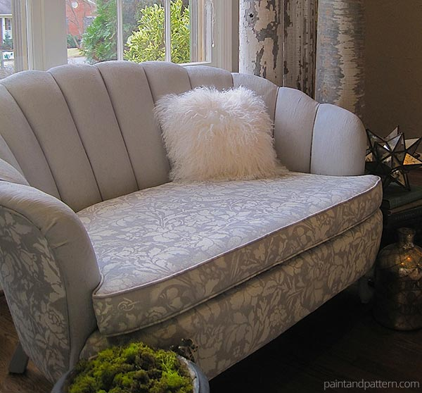 DIY project tutorial on painting upholstery with Chalk Paint and Royal Design Studio stencils