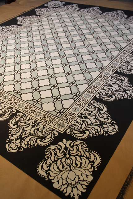 Best DIY projects of the year - Stencil a floor cloth rug with Chalk Paint and stencils