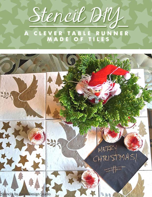 Stencil DIY: A Clever Table Runner Made of Tiles |Stencils by Royal Design Studio