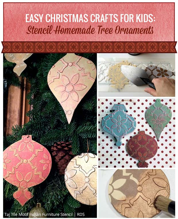 Stencil Homemade Tree Ornaments | Taj Tile Motif Indian Furniture Stencil by Royal Design Studio