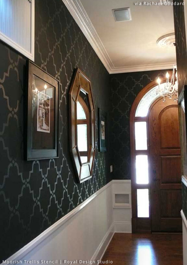 Stenciled Foyer Wall via Rachael Goddard | Large Moorish Trellis Stencil by Royal Design Studio