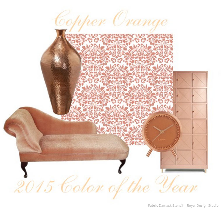 2015 color of the year copper orange diy home decor wall stencils pattern