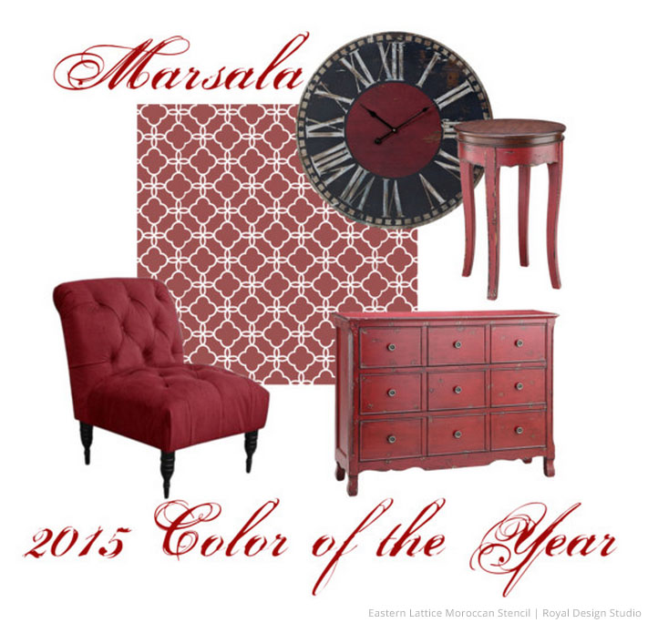 2015 color of the year pantone marsala wall stencils diy painting home decor