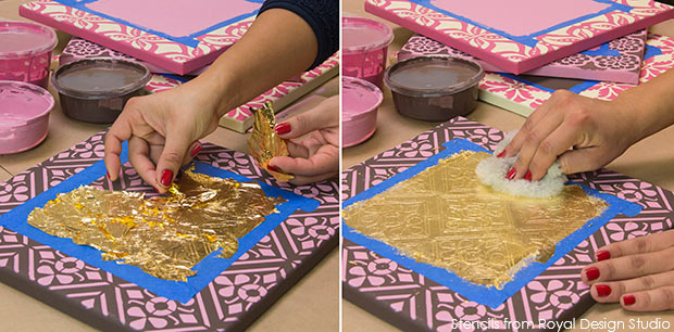 Stenciled wall art with gilding. Valentines DIY project with Chalk Paint and stencils from Royal Design Studio