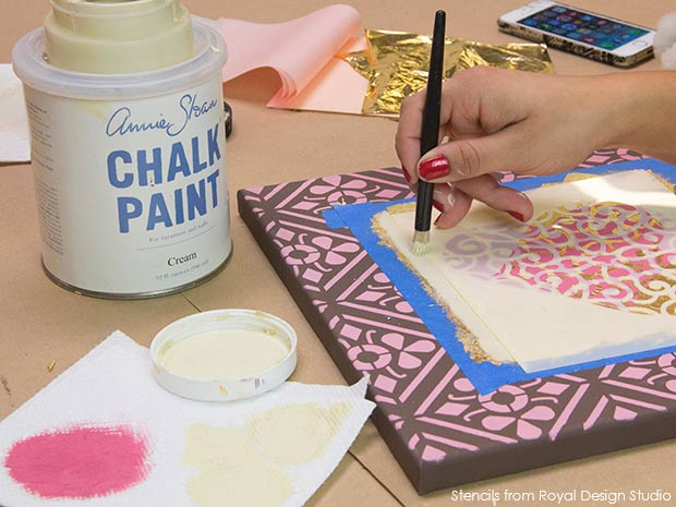 Stenciled wall art. Valentines DIY project with Chalk Paint and stencils from Royal Design Studio