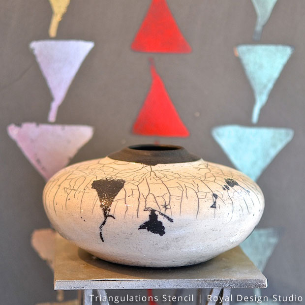 Stencil Wall Art DIY | Triangulations Wall Stencil by Royal Design Studio